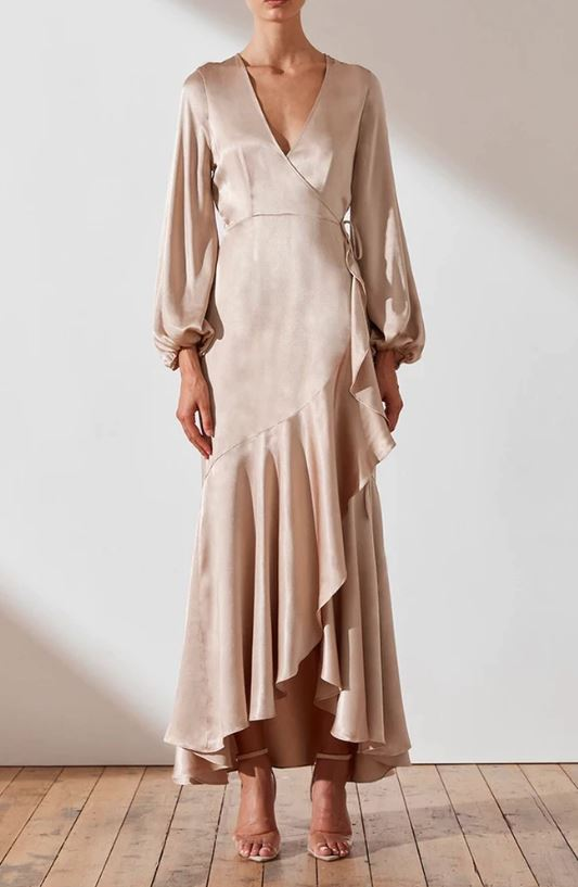 JOAN WRAP MIDI DRESS