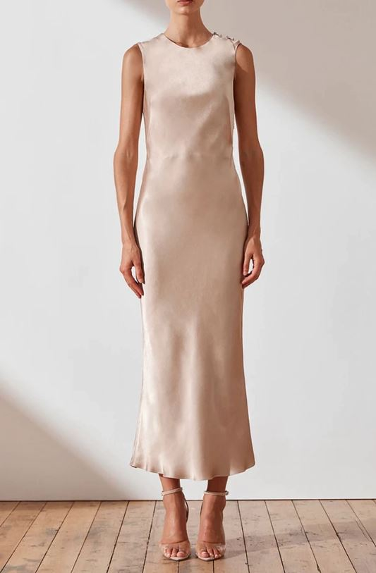 JOAN BIAS SLEEVELESS MIDI DRESS