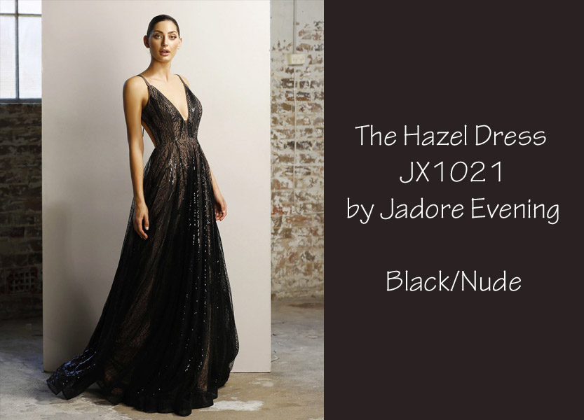 The Hazel JX1021 by Jadore Evening Black and Nude School Formal Dress Bridesmaids Dress