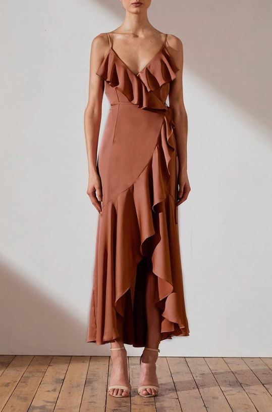 LUXE BIAS FRILL WRAP DRESS - Mocha