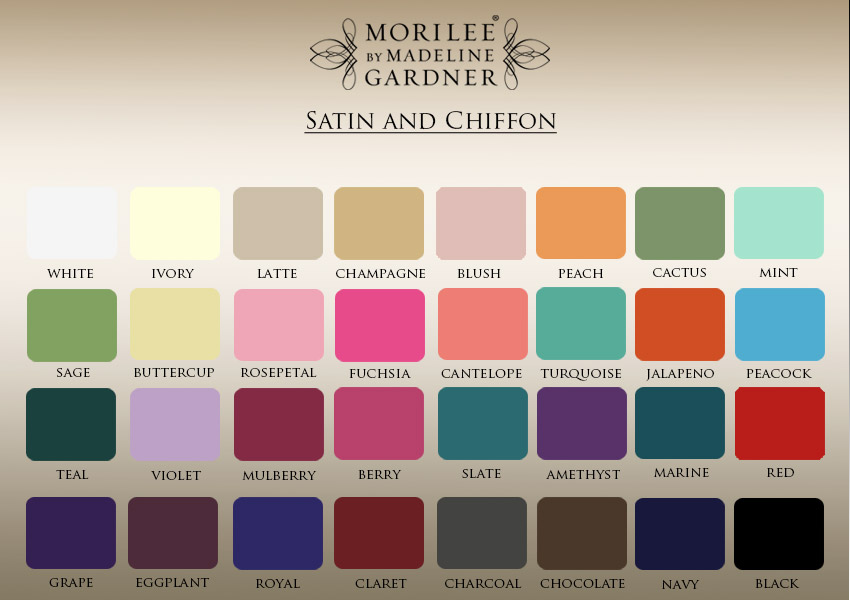 Color swatches for bridesmaid dresses