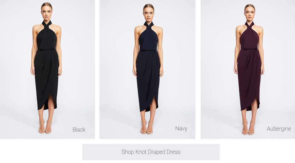 aa4e9cc5fe The Knot Draped Dress is our best seller when it comes to the wedding  guest! The dress is so sophisticated and elegant and can easily be worn  again to other ...