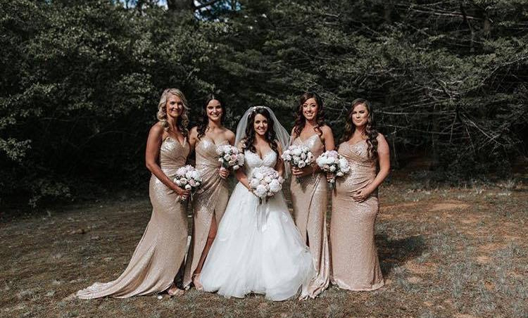 5bb9e6f6c336 The Zelda sequin dress is a perfect example of a modern twist on a bridesmaid  dress. The split at the front means its easier for your bridesmaids to walk  ...